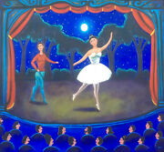 Beautiful Big Mexican Clasic Ballet Painting Famous Mexican Artist Esau Andrade