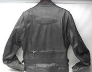 Harley Leather Motorcycle Jacket Zips And Buckles Amf Emblem Embossed On Back Sz L