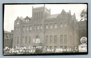Hot Springs Sd Fall River County Court House Vintage Real Photo Postcard Rppc