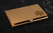 Rare March Of Dimes Gold Tone Tone Business Card Holder Case New Old Stock
