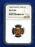 1960 D Ngc Ms63 Rd Small Date Lincoln Cent 1c - Low D Light Strike Ms-63 Rd