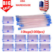 Us Stock Dental Disposable Suction Tube Ejector Clear W Blue Tip Dental Pipette