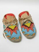 Antique Plains Beaded Moccasins 10 1/2 Early 20th Century