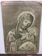 17th Century Copper Plate Engraving Mother Of God.