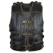 Menand039s Genuine Cow Leather Heavy Antique Zipper Motorcycle Waistcoat Vest S6-a