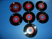 Nlot021- 7 Rare Collectible 45 Records - Red Labels Various Conditions