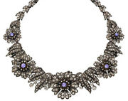 15.10cts Rose Cut Diamond Sapphire Antique Victorian Look 925 Silver Necklace