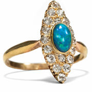 Antique Gold Ring With Schwarzopal And Vintage Cut Diamonds Victorian Um 1900 Opal