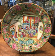 Antique Canton And039famille Roseand039 Porcelain Wall Plate Unsigned China 19th Century