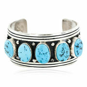 1780tag Collectable Certified Silver Navajo Turquoise Native Bracelet 12353-1