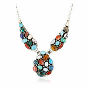 2180tag Silver Certified Navajo Multicolor Turquoise, Coral, Lapis Necklace 17