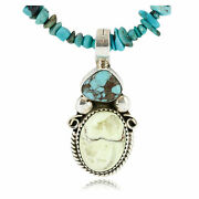500tag Certified Silver Navajo Gaspeite Turquoise Native Necklace 371019540439