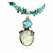 500tag Certified Silver Navajo Gaspeite Turquoise Native Necklace 390794135592
