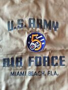 Vintage Us Army 5th Air Force Ww2 Patch On Pillow Sham Miami Beach Fl Homefront