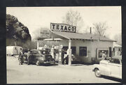Real Photo Jack's Texaco Service Gas Station Old Cars Pumps Postcard Copy