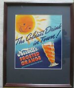 Framed Rare Vintage Nesbittandrsquos Frosted Orange Paper Sign Great Condition
