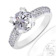 3.14 Ct Simulated Round Cut 14k White Gold Over Pave Ring