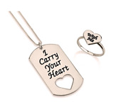 Cary Your Heart With Me Dog Tag Ring Set Sterling Silver 24k Gold Rose Gold