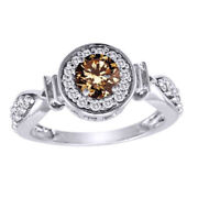 1 Ct Fancy Champagne Natural Diamond Frame Engagement Ring In 14k White Gold