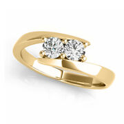 Simulated Solitaire Tension Us Two Stone Ring 14k Solid Yellow Gold 0.12ct