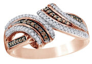 1/4 Ct Champagne And White Natural Diamond Split Bypass Ring 10k Rose Gold