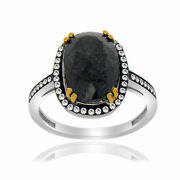 Heavy 4.69 Ct Black Rough And White Diamond 18k Gold And Sterling Solitaire Ring 7
