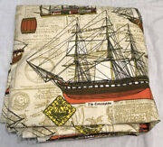 5 Yards House N Home Fabrics Nautical Ships Boats Curtains Drapes Upholstery