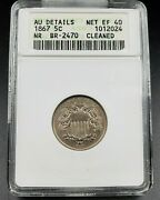 1867 P Shield Nickel Variety Coin Rpd Repunched Date Breen-2470 Anacs Au Details
