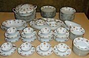 Noritake China Japan Porcelain Dinner Set 5241 Rust And Brown Flowers Gold Leaves