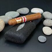 Brizard And Co. - The Show Band 3 Cigar Case - Stingray Black