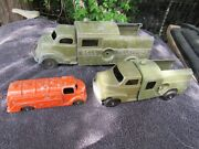Vintage Hubley Kiddie Toy No. 475 Od Green Bell Telephone 3 Truck Lot Usa