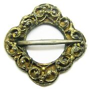 13th - 14th C. A.d Beautiful Medieval Silver-gilt Lozenge Shaped Annular Brooch