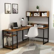 Tribesigns L-shaped Desk With Hutch, 68 Corner Computer Desk For Home Office Vt