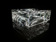 Baccarat Thick Crystal Ashtray Measures 4.75 X 4.75 X 1.75