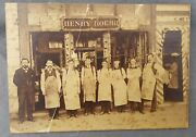 Antique Albumen Cabinet Photo Henry Roehr Cigar Store And Barbershop