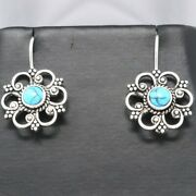 Handmade Flower Jewelry Blue Turquoise Earrings Sterling Silver Vintage Antique