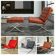 Classic Barcelon/a Style Lounge Chair / Ottoman Genuine Leather Stainless Frame