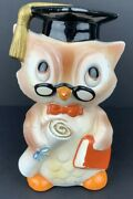 Vintage Lefton China Hand Painted Graduation Owl Piggy Bank Coin Bank Used