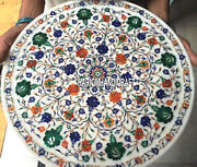 16 White Marble Serving Plate Multi Inlaid Floral Mosaic Work Collectible Gifts
