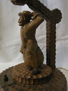 Antique German Carved Wood Table Desk Lamp Munchausen Flies On Cannonball
