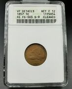 1857 Flying Eagle Cent Penny Error Anacs Clashed Dies Fs-003 Fs-402 Vf Details