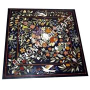 36 Black Marble Dining Table Top Collectible Inlay Bird Floral Marquetry E931a
