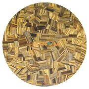 Marble Dining Table Top Real Tiger Eye Stone Mosaic Inlay Garden Decor Art H1681