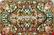 Green Marble Dining Table Marquetry Inlay Handmade Art Home Decoratives H4494