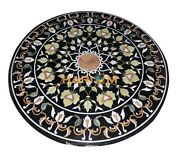 36 Black Round Marble Dining Table Top Collectible Marquetry Inlay Decor B089