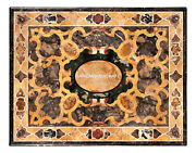 Black Marble Custom Top Table Scagliola Stone Inlay Arts Living Home Decor H4799