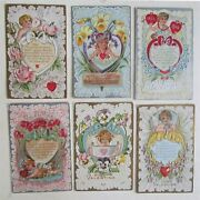 Lot Of 6 Valentine Embossed Antique Postcards Cupids W/ Hearts Doves Flowers