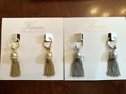 Lot Of 2-lia Sophia Kiam Collection Curtain Call Matte Gold And Silver Earrings