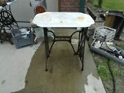 Antique Singer Treadle Cast Iron Sewing Machine W/ White Aged Marble Top
