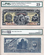 Early Date 1912 10 Canadian Bank Of Commerce Large Size Note. Pmg Vf25